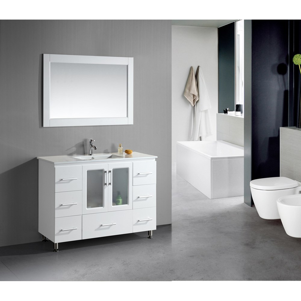"Design Element Stanton 48"" Single Sink Vanity Set with Drop-In Sink - Whitenohtin"