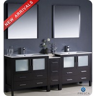 "Fresca Torino 84"" Espresso Modern Double Sink Bathroom Vanity with Side Cabinet, Integrated Sinks, and Mirrors FVN62-361236ES-UNS"