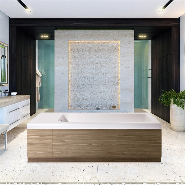 Aquatica Pure 2L Back To Wall Solid Surface Bathtub with Light Decorative Wooden Side Panels - White and Light Wood Aquatica Pure-2-Wht-LOak