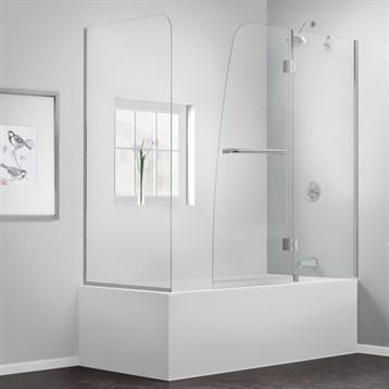 "Bath Authority DreamLine Aqua Frameless Hinged Tub Door, 56"", 60"" with Return Panel SHDR-3148586-RT by Bath Authority DreamLine"