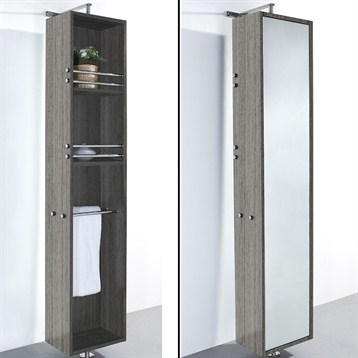 April Rotating Floor Cabinet with Mirror by Wyndham Collection, Gray Oak WC-V202-GROAK by Wyndham Collection®