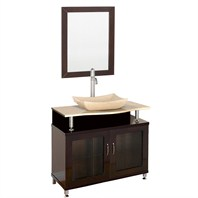 "Accara 36"" Bathroom Vanity - Doors Only - Espresso w/ Ivory Marble Counter B706-36-DR-ESP-IVO"