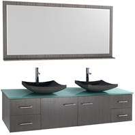 "Bianca 72"" Wall-Mounted Double Bathroom Vanity - Grey Oak WHE007-72-GROAK-"