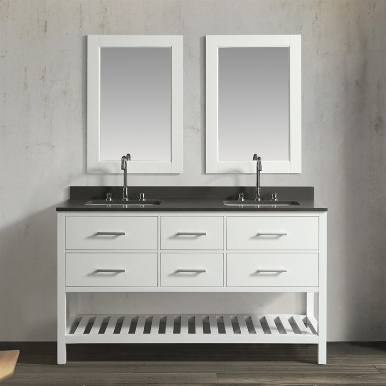 "Design Element London Cambridge 61"" Double Sink Vanity Set - White DEC077C-W-GT"