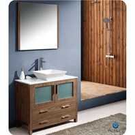 "Fresca Torino 36"" Walnut Brown Modern Bathroom Vanity with Vessel Sink FVN6236WB-VSL"