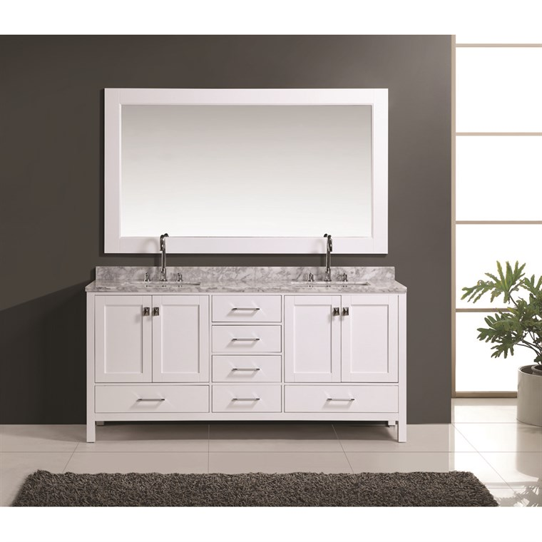 "Design Element London 72"" Double Vanity Set - White DEC082B-W"