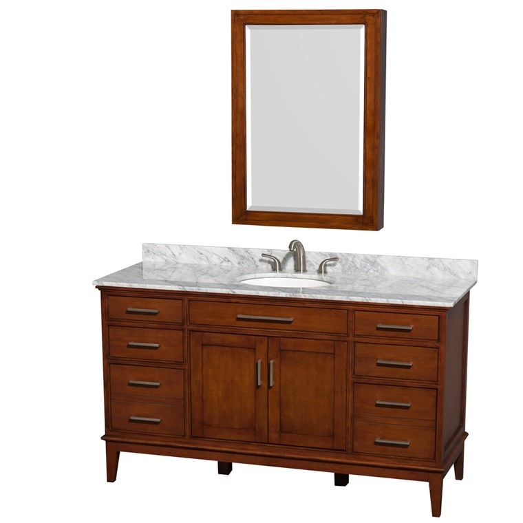 "Hatton 60"" Single Bathroom Vanity by Wyndham Collection - Light Chestnut WC-1616-60-SGL-VAN-CLT"