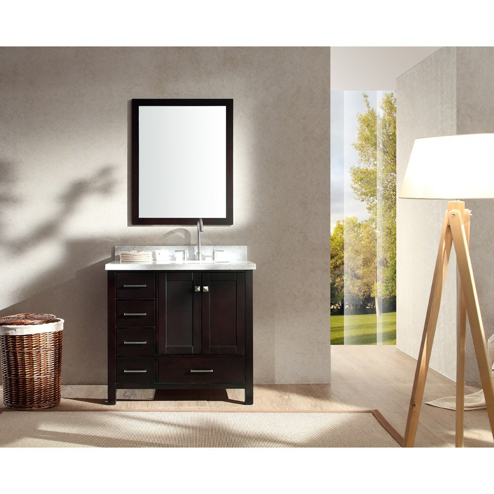 "Ariel Cambridge 37"" Single Sink Vanity Set with Right Offset Sink and Carrera White Marble Countertop - Espressonohtin Sale $1099.00 SKU: A037S-R-ESP :"