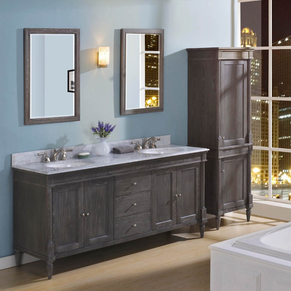 "Fairmont Designs Rustic Chic 72"" Vanity-Double Bowl - Silvered Oaknohtin Sale $2510.00 SKU: 143-V7221D :"
