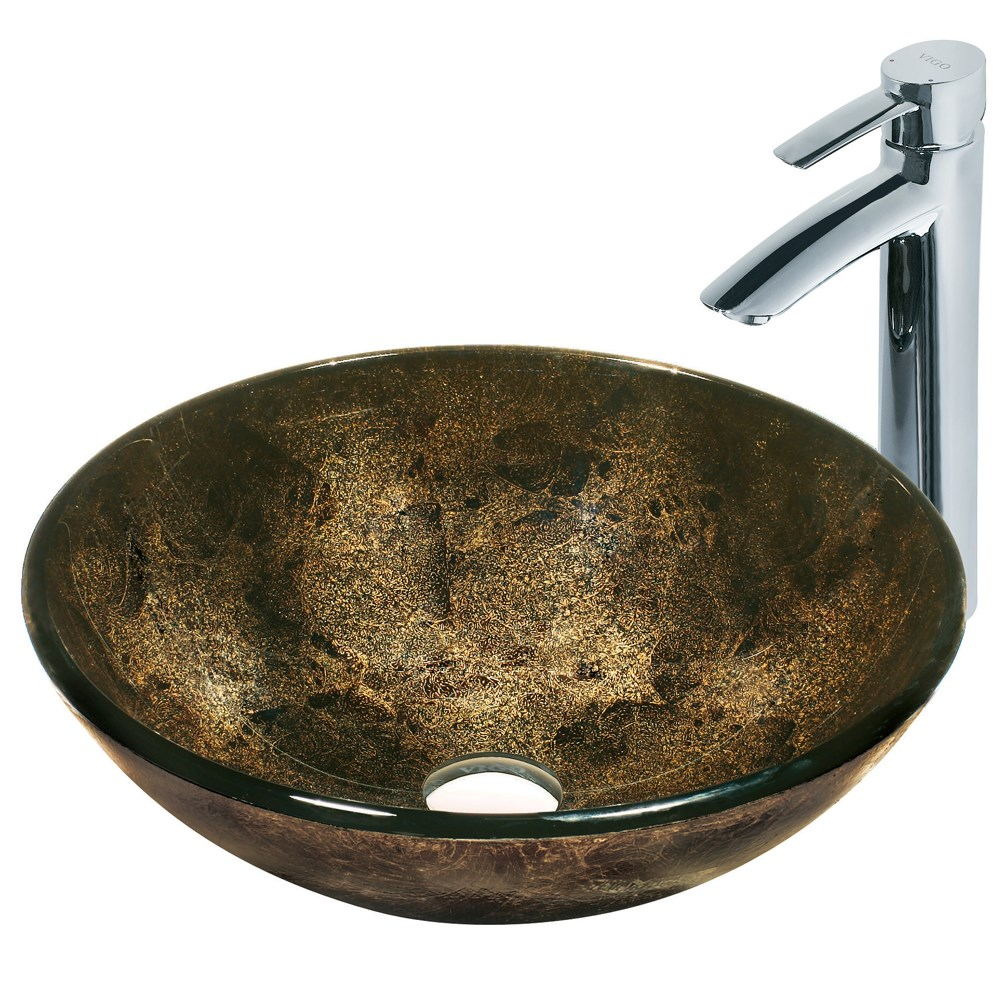 VIGO Sintra Glass Vessel Sink and Faucet Set in Chromenohtin Sale $229.90 SKU: VGT122 :