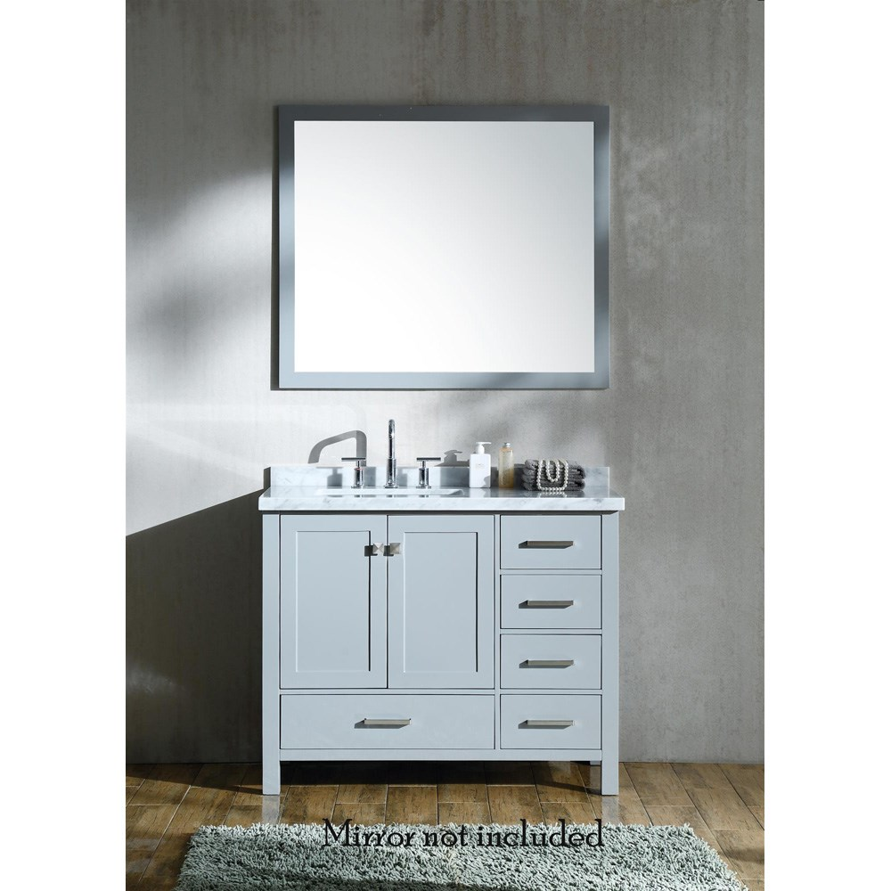 "Ariel Cambridge 43"" Single Sink Vanity with Left Offset Rectangle Sink and White Carrara Marble Countertop - Grey A043SLCWRVOGRY"