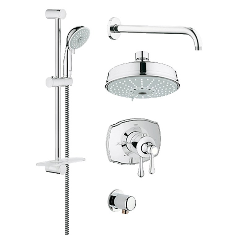 Grohe Grohflex Bath and Shower Set with Thermostat Valve - Starlight Chrome GRO 35054000