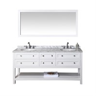 "Stufurhome Marla 72"" Double Sink Bathroom Vanity with Mirror - White HD-6868-72-CR"