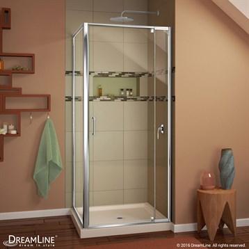 "DreamLine Flex 28-32"" Adjustable W x 32"" D x 74-3/4"" H Frameless Shower Enclosure and Base Kit, Chrome... by Bath Authority DreamLine"