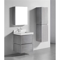 "Madeli Cube 24"" Wall-Mounted Bathroom Vanity for Quartzstone Top - Ash Grey B500-24-002-AG-QUARTZ"