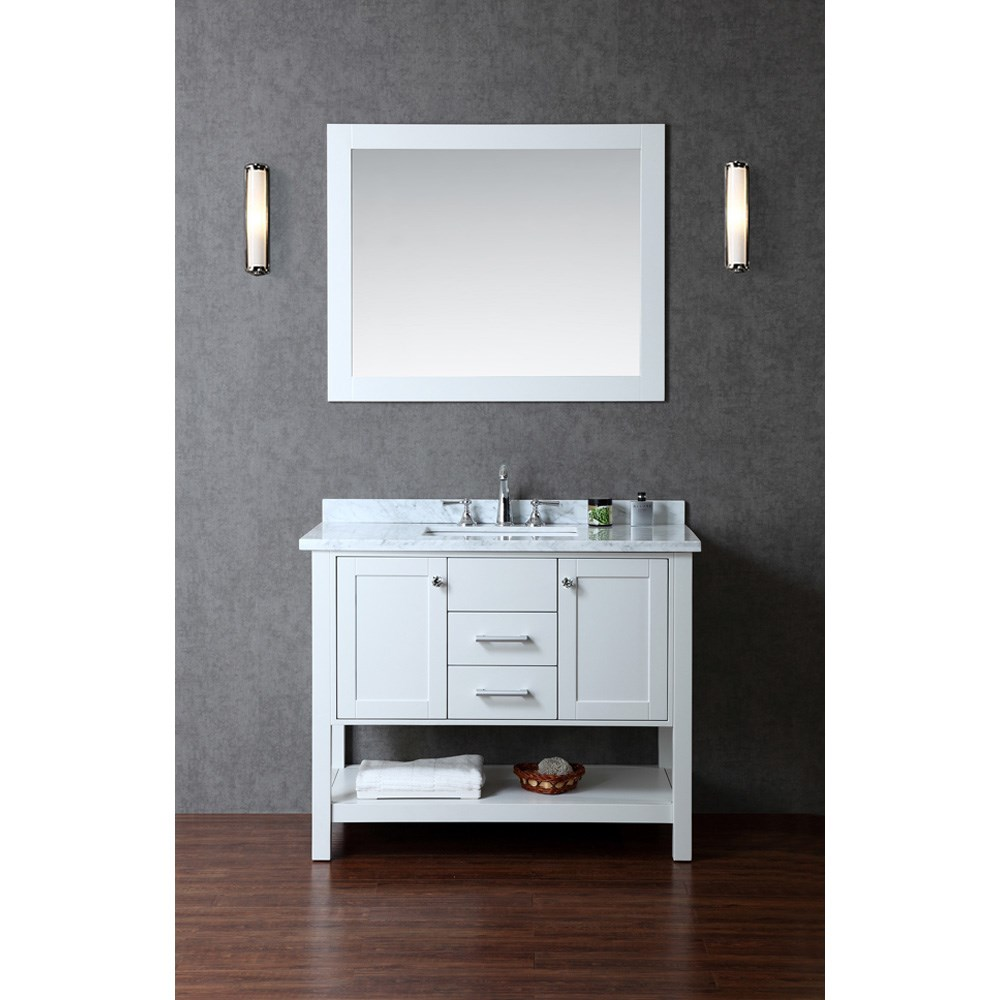"Seacliff by Ariel Bayhill 42"" Single Sink Vanity Set with Carrera White Marble Countertop - Cloud Grey SC-BAY-42-SCG"