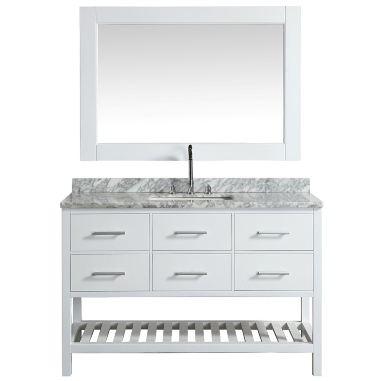 "Design Element London Cambridge 54"" Single Sink Vanity Set - White DEC077H-W-WT"