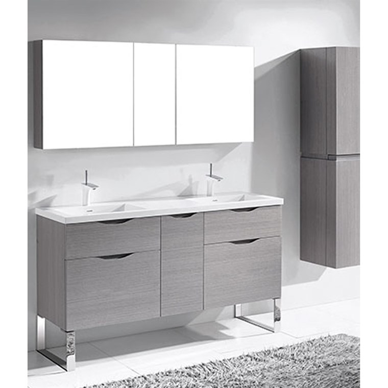 "Madeli Milano 60"" Double Bathroom Vanity for Integrated Basins - Ash Grey B200-60D-021-AG"