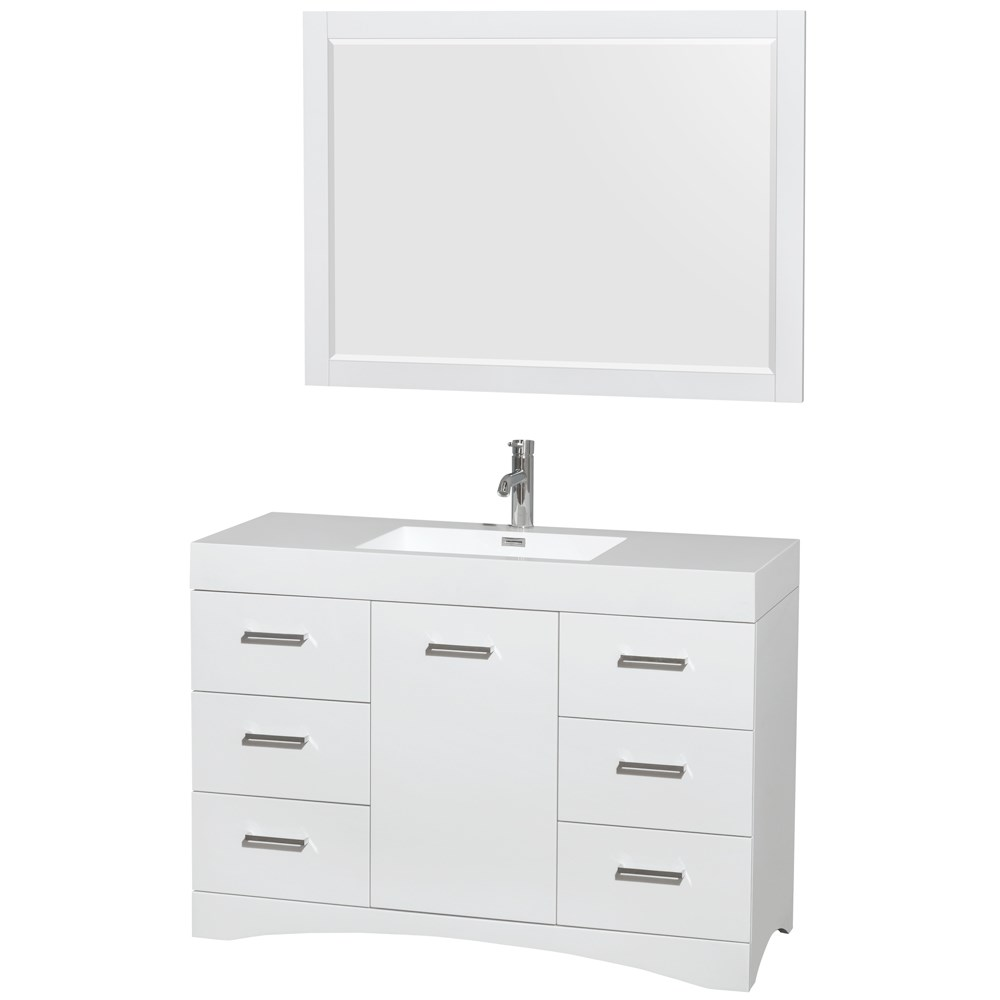 "Delray 48"" Bathroom Vanity Set With Integrated Sink by Wyndham Collection - Glossy Whitenohtin Sale $1199.00 SKU: WC-R4400-48-VAN-WHT :"
