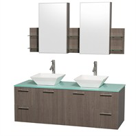 "Amare 60"" Wall-Mounted Double Bathroom Vanity Set with Vessel Sinks by Wyndham Collection - Gray Oak WC-R4100-60-GROAK-DBL"