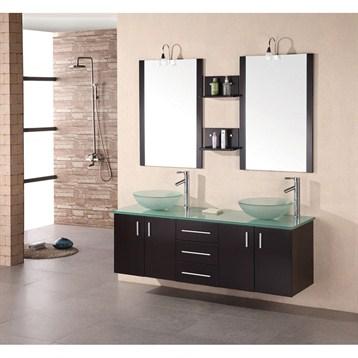 "Design Element Portland 61"" Wall Mount Bathroom Vanity with Vessel Sinks, Espresso DEC005 by Design Element"