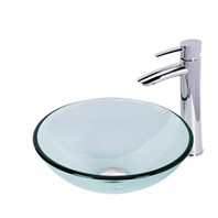 VIGO Crystalline Glass Vessel Sink and Shadow Vessel Faucet Set in a Chrome Finish VGT892