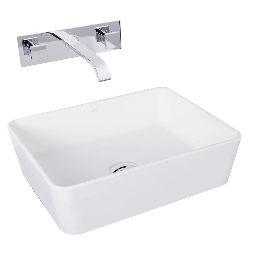 VIGO Sirena Matte Stone Vessel Sink and Titus Chrome Finish Dual Lever Wall Mount Faucetnohtin Sale $255.90 SKU: VGT1015 :