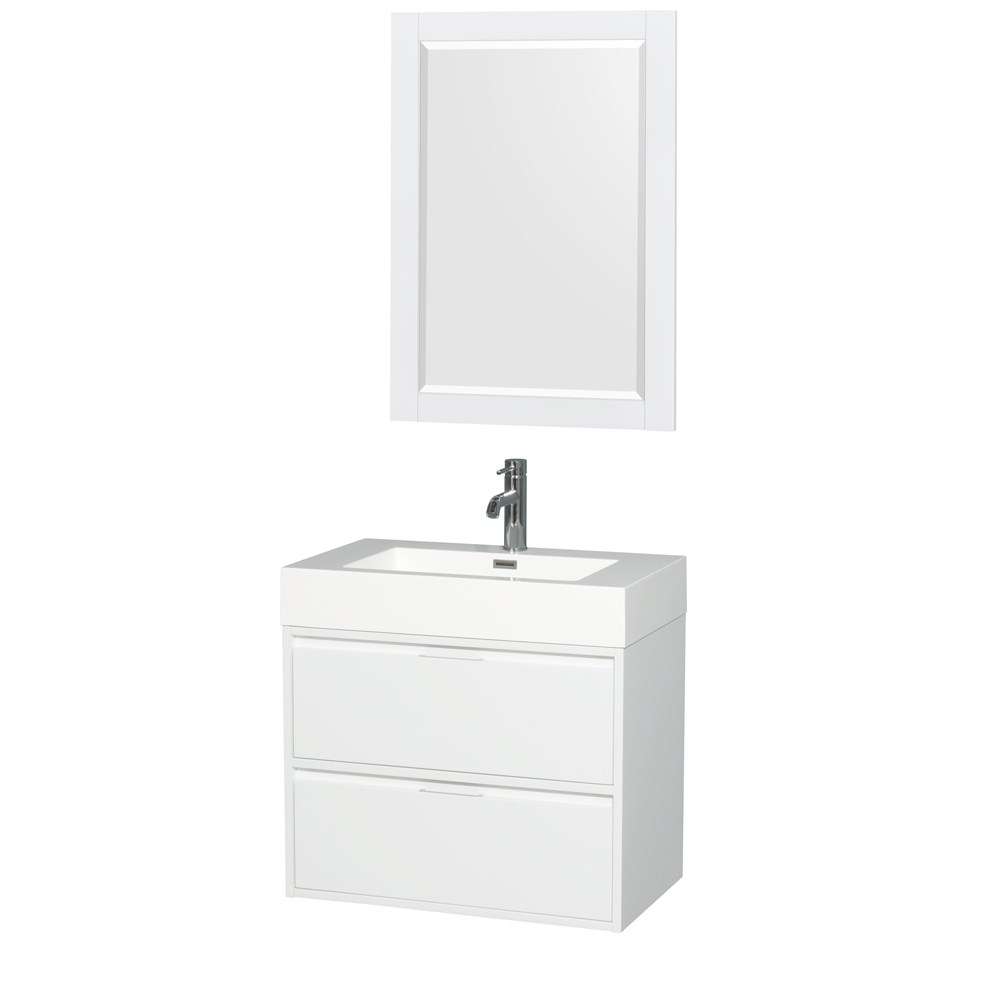 """Daniella 30"""" Wall-Mounted Bathroom Vanity Set With Integrated Sink by Wyndham Collection - Glossy Whitenohtin Sale $699.00 SKU: WC-R4600-30-VAN-WHT :"""