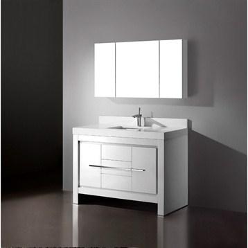 "Madeli Vicenza 48"" Bathroom Vanity with Quartzstone Top, Glossy White B999-48C-001-GW-QUARTZ by Madeli"