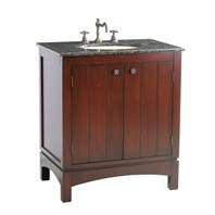 "Stufurhome 32"" Charleston Single Sink Vanity with Baltic Brown Granite Top - Dark Cherry GM-2203-32-BB"