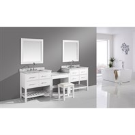 "Design Element London Two 36"" Vanities with Open Bottom and Make-up Table - White DEC077A-WX2_MUT-W"