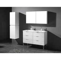 "Madeli Milano 48"" Double Bathroom Vanity for X-Stone Integrated Basins - Glossy White B200-24-002-GW-X2-XSTONE"