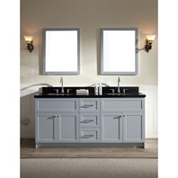 "Ariel Hamlet 73"" Double Sink Vanity Set with Absolute Black Granite Countertop in Grey F073D-AB-GRY"