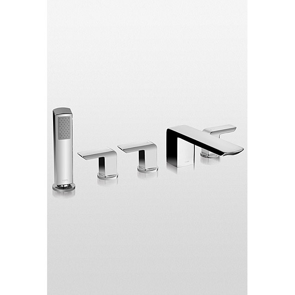 TOTO Soirée™ Deck-Mount Bath Faucet w/ Lever Handles, Handshower and Diverter - Polished Chrome