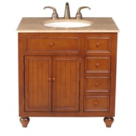 "Stufurhome 36"" Mary Single Sink Vanity with Travertine Marble Top - Rich Brown GM-2214-36-TR"