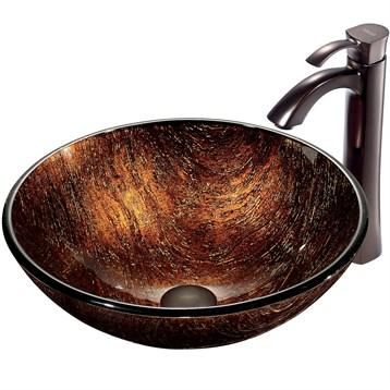 Vigo Kenyan Twilight Glass Vessel Sink and Faucet Set in Oil Rubbed Bronze VGT197 by Vigo Industries