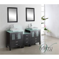 "Virtu USA Brentford 72"" Double Sink Bathroom Vanity - Espresso MD-4472"