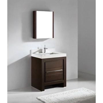 """Madeli Vicenza 30"""" Bathroom Vanity with Quartzstone Top, Walnut B999-30-001-WA-QUARTZ by Madeli"""