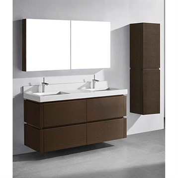 "Madeli Cube 60"" Double Wall-Mounted Bathroom Vanity for Quartzstone Top, Walnut B500-60D-002-WA-QUARTZ by Madeli"