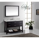 "Virtu USA 48"" Caroline Estate Single Bathroom Vanity Set with Italian Carrara White Marble Countertop - Espresso MS-2248"