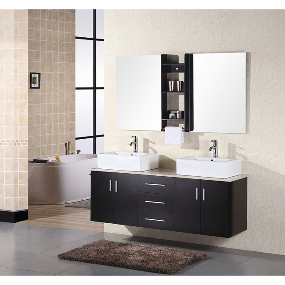 "Design Element Portland 61"" Wall Mount Bathroom Vanity - Espressonohtin Sale $1499.00 SKU: DEC004 :"