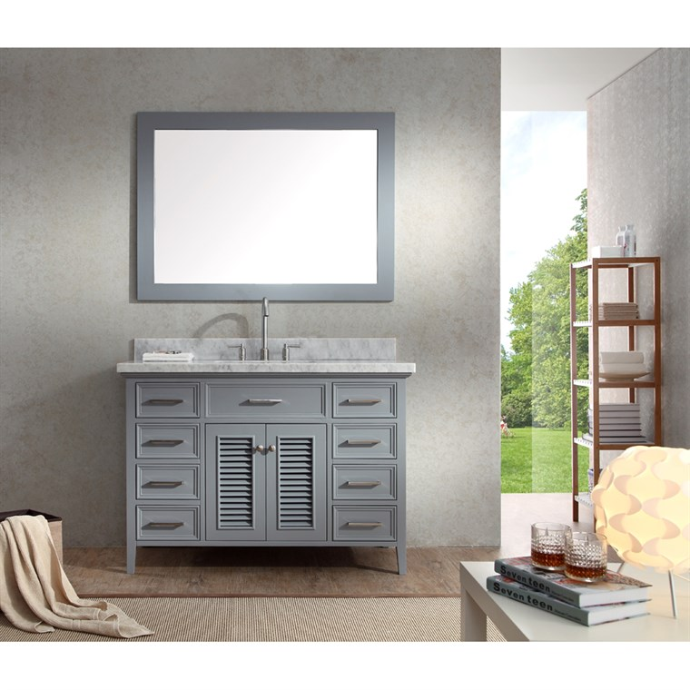 "Ariel Kensington 49"" Single Sink Vanity Set with Carrera White Marble Countertop - Grey D049S-GRY"
