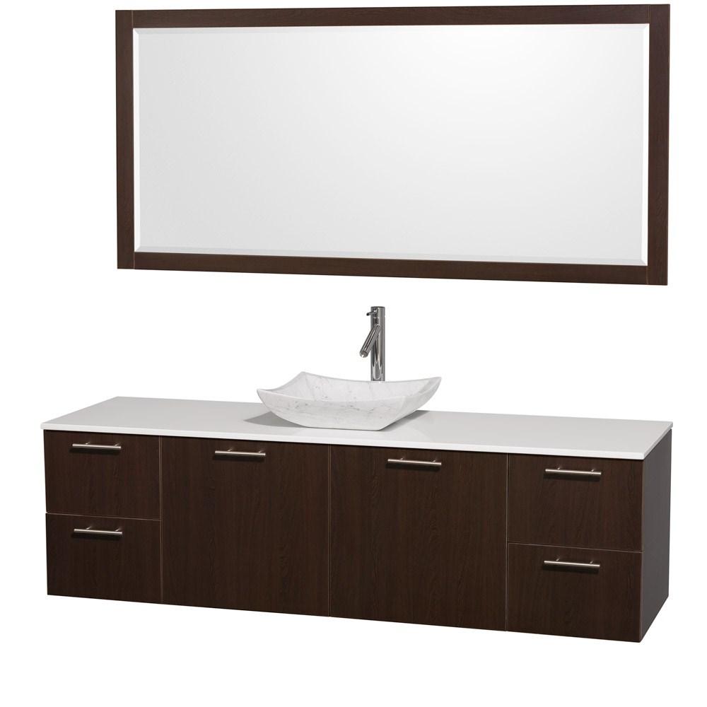 "Amare 72"" Wall-Mounted Single Bathroom Vanity Set with Vessel Sink by Wyndham Collection - Espressonohtin Sale $1499.00 SKU: WC-R4100-72-ESP-VAN-SGL :"
