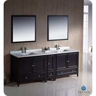 "Fresca Oxford 84"" Traditional Double Sink Bathroom Vanity with Side Cabinet - Espresso FVN20-361236ES"