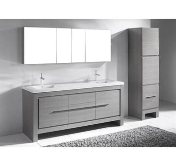 "Madeli Vicenza 72"" Double Bathroom Vanity For X-Stone, Ash Grey B999-72D-001-AG-XSTONE by Madeli"