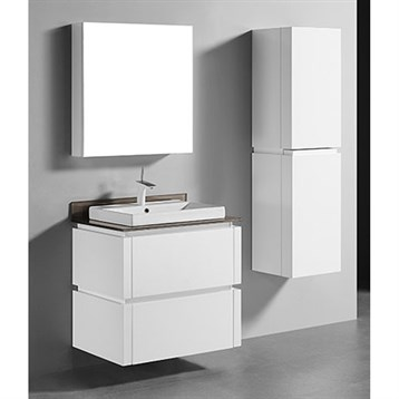 """Madeli Cube 30"""" Wall-Mounted Bathroom Vanity for Glass Counter and Porcelain Basin, Glossy White... by Madeli"""