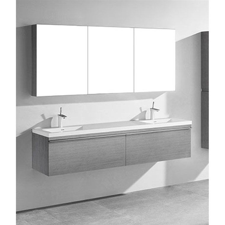"Madeli Venasca 72"" Double Bathroom Vanity for Integrated Basin - Ash Grey B990-72D-002-AG"
