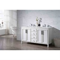"Stufurhome Emily 59"" Double Sink Bathroom Vanity with White Quartz Top - White TY-6262-59-QZ"