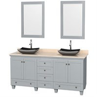"Acclaim 72"" Double Bathroom Vanity for Vessel Sinks by Wyndham Collection - Oyster Gray WC-CG8000-72-DBL-VAN-OYS"