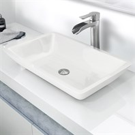 "Vigo 22"" Flat-edged Rectangular Phoenix Stone Vessel Bathroom Sink - White VG07105"